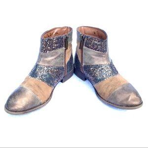 Nina Ines Glittery Patchwork Brown Metallic Boot 3